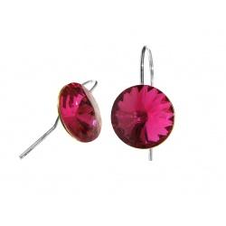 Hook Earrings Open - Swarovski Crystals 925 Sterling Silver - RIVOLI 12mm Fuchsia + BOX