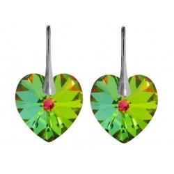 Earrings - Swarovski Crystals Hearts Vitrail Medium 18mm - 925 Sterling Silver + BOX