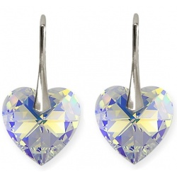 Earrings - Swarovski Crystals Hearts Crystal AB 18mm - 925 Sterling Silver + BOX