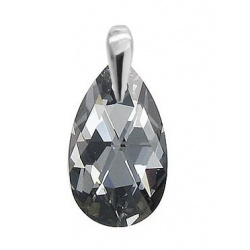 Pendant Crystal  Swarovski Almond 22mm Silver night - 925 Sterling Silver + BOX