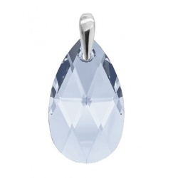 NEW!!! Pendant Crystal  Swarovski Almond 22mm Light Sapphire - 925 Sterling Silver + BOX