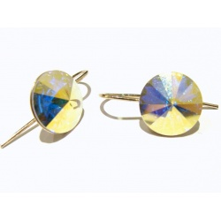 Naušnice otvorene s kristalima Swarovski u srebru 925 - RIVOLI 12mm Sapphire + KUTIJA