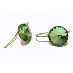 Earrings Open - Swarovski Crystals - 925 Sterling Silver - RIVOLI 12mm Peridot + BOX