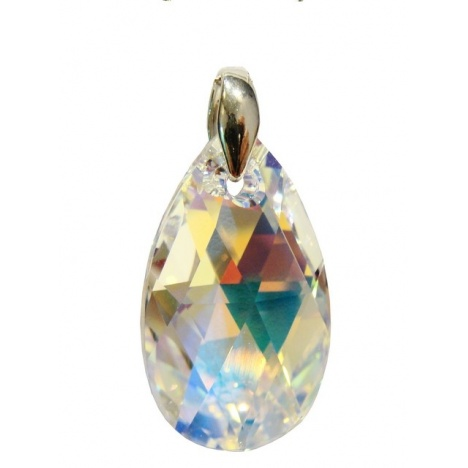 Privjesak Kristal Swarovski Badem 22mm Crystal AB - Srebro 925