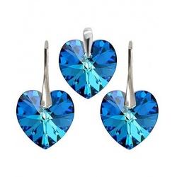 Earrings & Pendant w/ Swarovski Crystals - Heart 18mm Bermuda Blue - 925 Sterling Silver + BOX