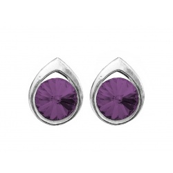 Swarovski Crystal Earrings Rivoli Amethyst 8mm - 925 Sterling Silver + BOX