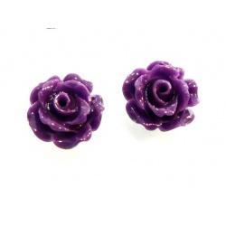 Earrings Purple Roses 8mm - 925 Sterling Silver