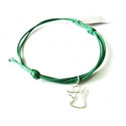 "Green Thread Bracelet & Pendant ""Angel"" made of 925 Sterling Silver"