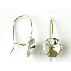 Hook Earrings Closed w/ Swarovski Crystals RIVOLI 8mm Crystal & 925 Sterling Silver + BOX