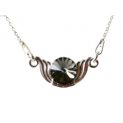 Necklace w/ Swarovski Crystal Rivoli 8mm Black Diamond - 925 Sterling Silver + BOX
