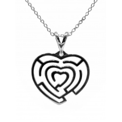 "Necklace ""Heart Maze"" - 925 Sterling Silver + BOX"