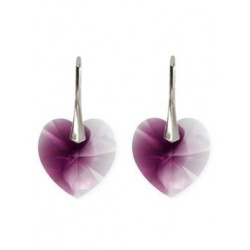 Earrings w/ Swarovski Crystal Heart - 18mm Amethyst Blend - 925 Sterling Silver
