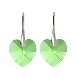 Earrings w/ Swarovski Crystal Heart - Peridot 14mm - 925 Sterling Silver + BOX