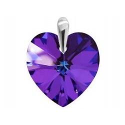 Pendant Swarovski Crystal Heart 18mm Heliotrope - Silver 925 + BOX