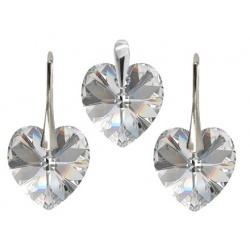 SET Earrings & Pendant w/ Swarovski Crystal Heart Siam 10mm - 925 Silver + BOX