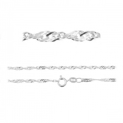 Singapore Chain 45cm - 925 Sterling Silver + BOX