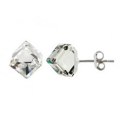 Earrings - Swarovski Crystals - Cube 6mm Cal, 925 Sterling Silver