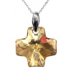 Necklace Chain & Pendant Swarovski Crystal Cross, 20mm Golden Shadow + BOX