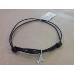 Bracelet Caoutchouc & 925 Sterling Silver - Black 19cm + BOX