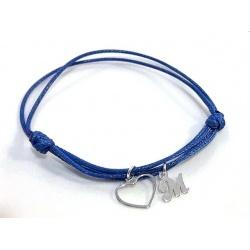 "Bracelet, letter ""M"" - 925 Sterling Silver + BOX"
