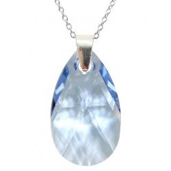 Necklace - Swarovski Crystal 925 Sterling Silver - Almond 22mm Light Sapphire + BOX