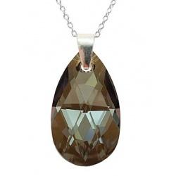 Necklace - Swarovski Crystal 925 Sterling Silver - Almond 22mm Bronze Shade + BOX