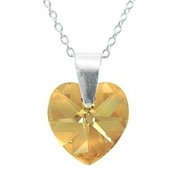 Ogrlica - kristal Swarovski u srebru 925 - Heart 10mm Golden Shadow