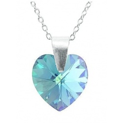 Necklace - Swarovski Crystal 925 Sterling Silver - Heart 10mm Aquamarine AB + BOX