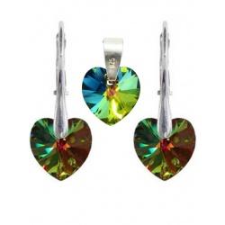 SET Earrings & pendant - Swarovski Crystals Hearts Vitrail Medium 10mm - 925 Sterling Silver + BOX