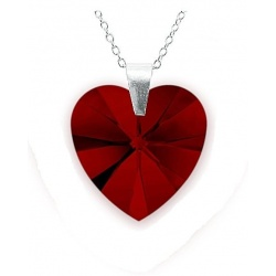 Necklace - Swarovski Crystal 925 Sterling Silver - Heart 18mm Siam + BOX