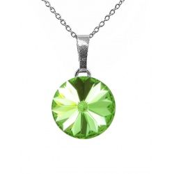 Necklace - Swarovski Crystal 925 Sterling Silver - Rivoli 12mm Peridot