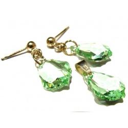 Earrings & Pendant Swarovski Crystals Baroque 16mm Chrysolite - 925 Sterling Silver + BOX