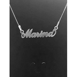 """Necklace w/ Nametag """"Marina"""" - 925 Sterling Silver + BOX"""