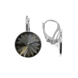 English Earrings - Swarovski Crystal - Rivoli 12mm Silver Night - Silver 925 + BOX