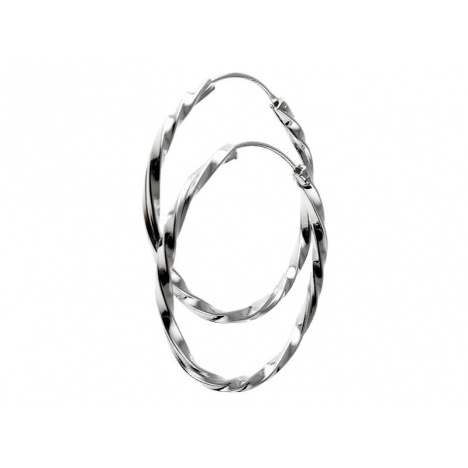 Naušnice krugovi, alke, upletene 30mm - Srebro 925 + KUTIJA
