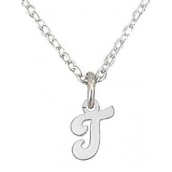 """Necklace, letter """"T"""" - 925 Sterling Silver + BOX"""