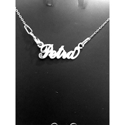"""Necklace w/ Nametag """"Petra"""" - 925 Sterling Silver + BOX"""