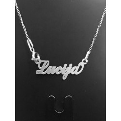 """Necklace w/ Nametag """"Lucija"""" - 925 Sterling Silver + BOX"""