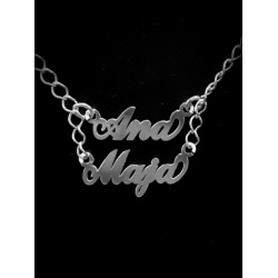 Necklace w/ 2 Namestag  - 925 Sterling Silver + BOX