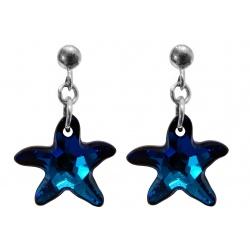 Naušnice s kristalima Swarovski - Starfish Bermuda Blue - Srebro 925