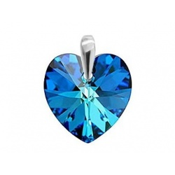 Privjesak Kristal  Swarovski Srce 18mm Bermuda Blue - Srebro 925