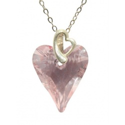 Necklace - Swarovski Crystal 925 Sterling Silver - Wild 17mm Rosaline + BOX