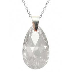 Necklace - Swarovski Crystal 925 Sterling Silver - Almond 22mm Crystal