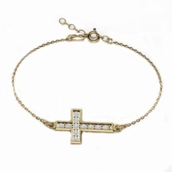 Narukvica križ sa cirkonima - pozlaćeno srebro 925