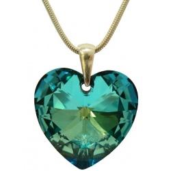 Necklace  Swarovski Crystal Heart 28mm Bermuda Blue