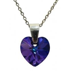 Ogrlica - kristal Swarovski u srebru 925 - Srce 10mm Heliotrope