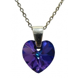 Necklace - Swarovski Crystal 925 Sterling Silver - Heart 10mm Heliotrope + BOX