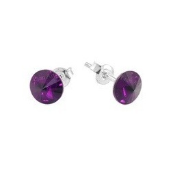 Earrings - Swarovski Crystals 925 Sterling Silver - RIVOLI 8mm Amethyst