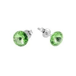 Earrings - Swarovski Crystals 925 Sterling Silver - RIVOLI 8mm Peridot
